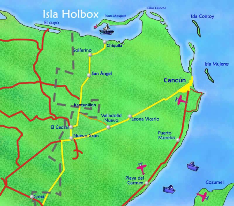 como llegar a holbox De turismo en la Península de Yucatán